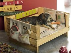 from Marie claire idées no 107 mars avril 2015 compressed Niche Chat, Pallet Dog Beds, Pallet Crates, Blue Merle, Fox Terrier, Raised Beds, Pallet Furniture, Toy Chest, Cute Animals