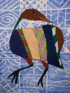 Adire Style Wax Batik, African, cultural, batik, animals, patterns, oil resist, oil pastels, 7th Grade