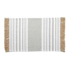 Make a natural statement to any room with this woven jute and cotton thread throw rug featuring striped pattern and side fringe tassels. Dimensions: 23 x Care Instructions: SPOT CLEAN ONLY Material: COTTON Bathroom Rugs, Bathrooms, Kitchen Linens, Mud Pie, Throw Rugs, Farmhouse Decor, Outdoor Blanket, Weaving
