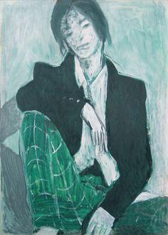 Emil Valev; Painting, Le pantalon à carreaux #art