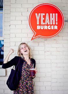 fun, interactive signage for Yeah! Burger love love, #modifying_social_behavior