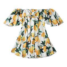 Off Shoulder Ruffle Lemon Beach Dress White (120 DKK) via Polyvore featuring dresses, flutter-sleeve dress, lemon dress, white ruffle dress, white flounce dress and off the shoulder ruffle dress