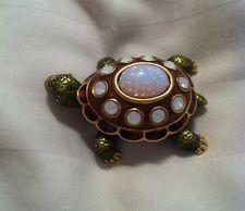 Jay Strongwater OPAL (October Birthstone) Mini Turtle Trinket Box, New In Box