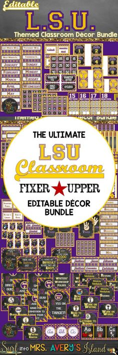 This editable LSU Themed Decor Bundle is FULL of back to school printables to help teachers stay organized and maximize classroom management throughout the school year. Click here to discover a HUGE bundle of back to school printables that are guaranteed to give your students something to ROAR about when they enter your classroom!