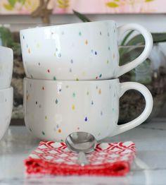 Raindrop Ceramic Latte Mugs