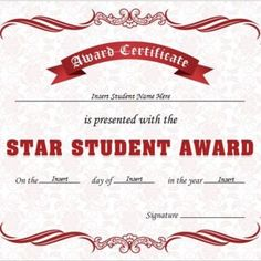 Star Student Award Certificates for MS Word Free Certificate Templates, Certificates Online, Award Certificates, Star Students, Certificate Of Appreciation, Student Awards, Good Student, Practical Life, Talent Show