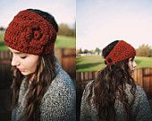 Ski or Snowboarding Headband Crocheted with Flower and Buttons in Rust