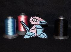 Porygon - Iron on patch - Shiny Metallic Embroidered.   Pokemon patch.
