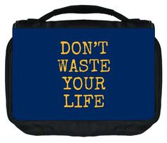Don't Waste Your Life-Navy/Mustard TM Small Travel Sized Hanging Cosmetic/Toiletry Case with 3 Compartments and Detachable Hanger-Made in the U.S.A. ** Check this awesome image  : Makeup organization