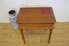 Mid Century Retro Danish Teak Tiled Nest Of 2 Tables   Vinterior London  #retro #danish #design
