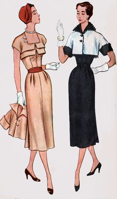 1950s ROCKABILLY Dress with Bolero Simplicity 8383 Vintage Sewing Pattern Size 16 Bust 34 by sandritocat on Etsy