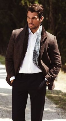don't especially like the brown and black, but it is david gandy, after all.  :)  fashionable men gentleman style masculine and elegance layers