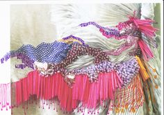 NPP Beaded drawing- Inspired by hair and movement, nice textile research by student Harry Harvey