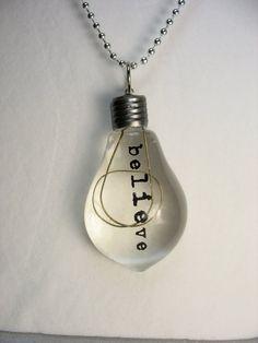 Lightbulb necklace  acrylic lightbulb by lennonsleadinglady, $18.00
