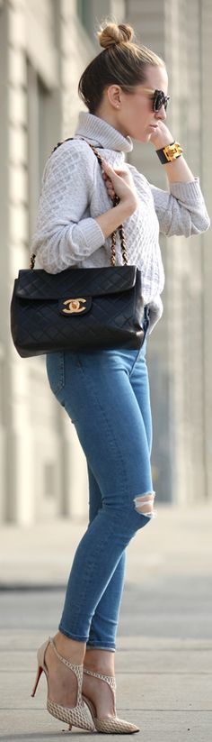 Street Style, April 2015: Helena Glazer is wearing a Vince turtleneck sweater with a pair of ripped Topshop jeans, Louboutin heels and a Chanel black handbag