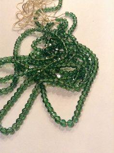Vintage English Rough Cut beads Peridot  by Frenchsteelbeadshop