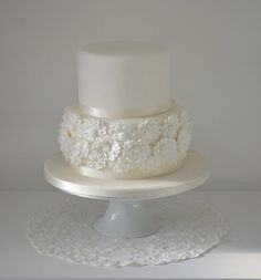 White flower wedding cake  Cake by SugarRuffles