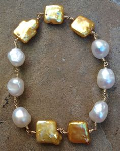Champagne Gold tone Square Coin Pearls  with White by FMBdesigns, $150.00