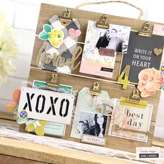 This DIY Photo Display is so chic and fun! What a great way to always feel inspired- with bits and pieces of beautiful embellishments and photos of the ones we love. Pallet Picture Display, Picture Frame, Diy Paper, Paper Crafts, Pallet Pictures, Display Family Photos, Crate Paper, Home And Deco, Diy Photo
