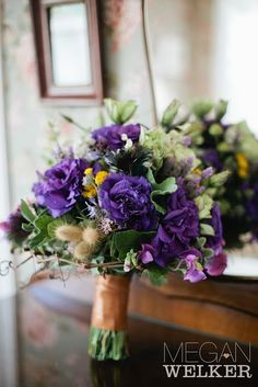 Purple Lisianthus Bouquet | Purple and green bouquet, lisianthus, herbs, ... | My Future Wedding ...
