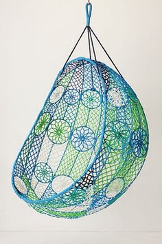 Knotted Melati Hanging Chair, Blue Motif - Eclectic - Chairs - Anthropologie 1970s!