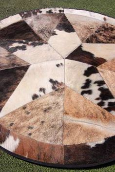 Cowhide Rug Leather Cow Hide Steer Patchwork Area Round-11 Main