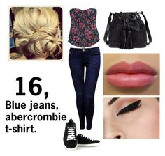 """""""16, blue jeans, abercrombie t-shirt"""" by frodoandthering ❤ liked on Polyvore featuring Jane Norman, Vegetarian Shoes, Abercrombie & Fitch and Elliott Lucca"""