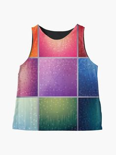 Alternate view of Love of Color Touch of Glam Sparkling Square Tile Print Sleeveless Top      #sleeveless #top #shirt #blouse #glam #sparkling #glitter #fabric #clothing #fashion #girly