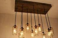 Rustic mason jar lighting chandelier