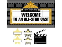 They may pretend they don't care but older kids still like to feel welcome. Welcome them back in style with this movie theme bulletin board display. The file includes editable stars so you can customize the display. Hollywood Bulletin Boards, Movie Bulletin Boards, Hollywood Theme Classroom, Bulletin Board Display, School Bulletin Boards, Classroom Themes, Classroom Displays, Sweet 16 Themes, Welcome Boards
