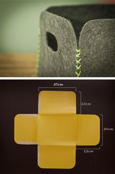 DIY felt storage tubs, would work well with thick leather too Felt Diy, Felt Crafts, Fabric Crafts, Sewing Crafts, Sewing Projects, Ideias Diy, Crafty Craft, Diy Projects To Try, Sewing Tutorials