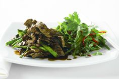 Hoisin beef strips with snowpea sprout salad