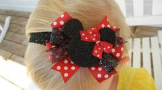 Red and black Minnie Mouse hair bow by CrystalNMeDesigns on Etsy, $4.99
