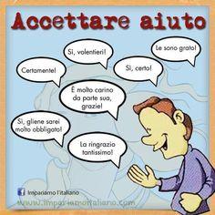 Accettare aiuto Perfeziona il tuo italiano con www.impariamoitaliano.com