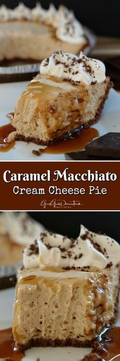 Caramel Macchiato Cream Cheese Pie is a tasty coffee flavored no-bake dessert recipe that is not to sweet, has delicious coffee flavor and simple to make. Köstliche Desserts, Delicious Desserts, Dessert Recipes, Yummy Food, Recipes Dinner, Cheesecake Recipes, Pie Recipes, Sweet Recipes, Easy Recipes
