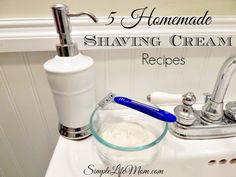 5 Homemade Shaving Cream Recipes: natural, healthy, and make for a smooth, silky shave. Great presents for him or her. With aloe, honey, castile, and more.