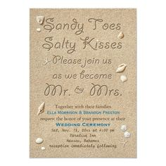Shop White Beach Sandy Toes Salty Kisses Wedding Invitation created by prettyfancyinvites. Beach Wedding Reception, Nautical Wedding, Wedding Centerpieces, Wedding Decorations, Crystal Snowflakes, Sandy Toes, Wedding Kiss, Wedding Locations, Wedding Destinations