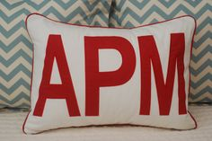 $80 White Standard Sham with Jumbo 3-Letter Red Appliqué with Red Cording