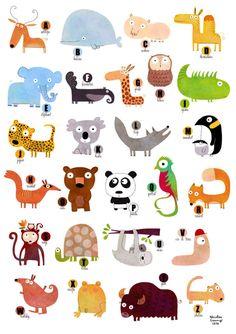 Impressions numériques, Affiche, L'abécédaire des animaux A122 est une création orginale de la-parenthese-enchantee sur DaWanda