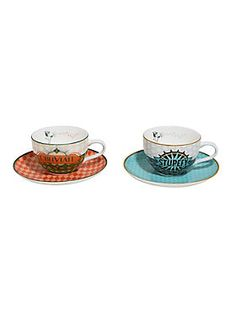 """<div>Don't feel stupefied or obliviated because you haven't had your tea. Set some time aside and enjoy a nice cuppa with a friend. This tea cup set comes with two <i>Fantastic Beasts and Where to Find Them </i>inspired tea cups and saucers with a vintage style art deco print. One mug reads """"Obliviate"""" and the other """"Stupefy."""" <br></div><div><ul><li style=""""list-style-position: inside !important; list-style-type: disc !important"""">6.7 oz.</li><li style=""""list-style-position: inside !important…"""