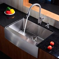 Kraus KHU103-33-KPF2130-SD20 Professional Kraus 33 inch Undermount Double Bowl Stainless Steel Kitchen Sink with Kitchen Faucet and Soap Dispenser Stainless Steel-eFaucets.com