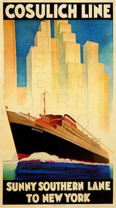 Vintage travel poster archive