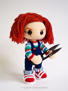 HAHA I just watched a Chucky movie yesterday then i found this! Chucky - free amigurumi pattern by Tales of Twisted Fibers.. (and there's another photo in my inbox that someone else made that looks really cool)