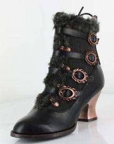 Women's Shoes Hades Nephele Steampunk Victorian Ankle Boots Vintage Retro Gears Medium B(M) Black $109.95