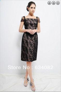 fcc1f2a27a9 मुफ्त शिपिंग 2014 महिला सुरुचिपूर्ण पोशाक प्लस आकार vestidos formales टोपी  आस्तीन छोटी काली ...