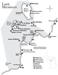 Manitou Passage shipwreck map. Lake Michigan