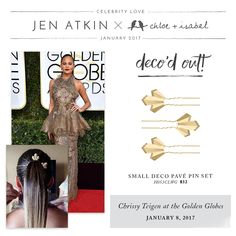 Get deco'd out like Chrissy Teigen at the Golden Globes with our new fan-favorite hair pins! 25% OFF until Mat 1st on my website, www.chloeandisabel.com/boutique/noemilenette