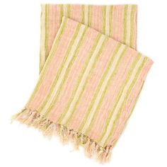 Pine Cone Hill Laundered Linen Ticking Pink Throw Ships Free