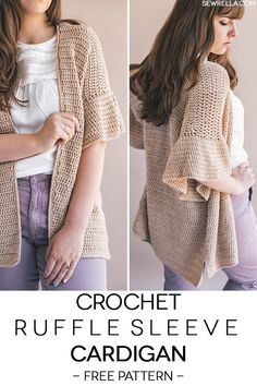 Crochet this beginner friendly ruffle sleeve cardigan with just 3 easy rectangles and simpler-than-ever sleeves! Free crochet pattern and video tutorial on my blog