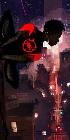 breathtaking wallpaper Spider-Man: Into the Spider-Verse, movie, cityscape, art, wallpaper - Free Large Images Black Spiderman, Spiderman Spider, Amazing Spiderman, Man Wallpaper, Marvel Wallpaper, Wallpaper Backgrounds, Spider Art, Spider Verse, Marvel Art